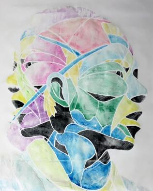 "TwoHeaded (Ghost Print), watercolor transfer screen print on paper, 60""x40"", 2016"