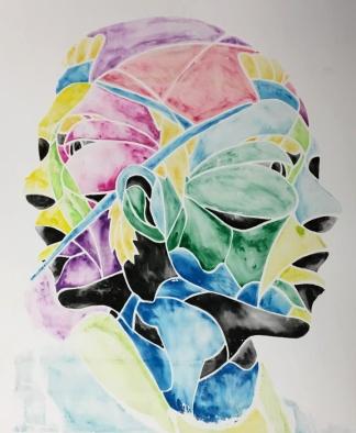 "TwoHeaded, watercolor transfer screen print on mat board, 60""x40"", 2016"