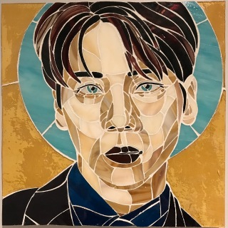 "Stained glass mosiac of Kim Jonghyun, 12""x12"", 2018"